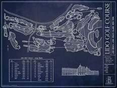 Lido Golf Course Blueprint Mural Wallpaper