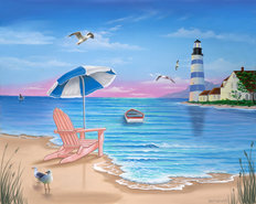 Lighthouse Beach Mural Wallpaper