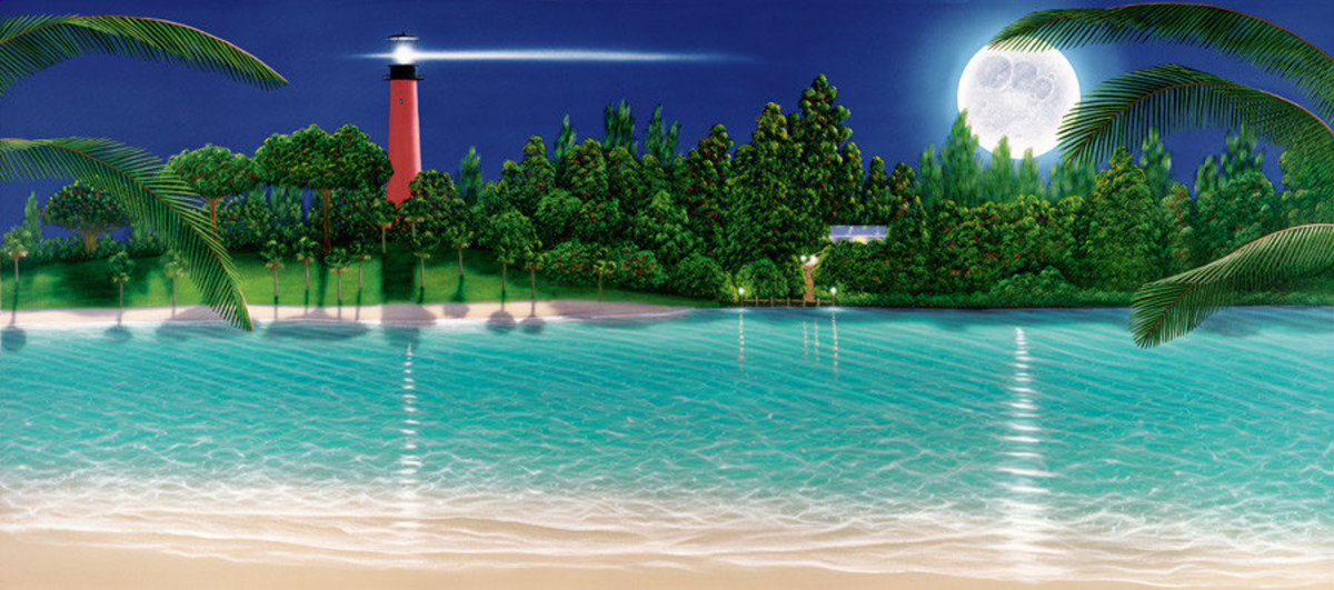 Lighthouse Paradise - Night Mural Wallpaper
