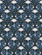 Lily Damask - Blue Wallpaper