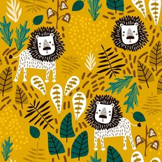 Lions and Plants Tropical Pattern Wallpaper