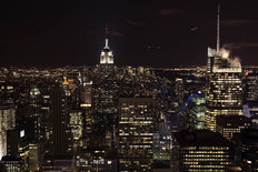 Lit Up New York Skyline Wallpaper Mural