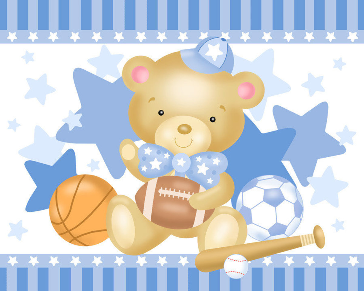 Little Boy Bear Mural Wallpaper