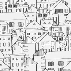 Little Town Pattern Wallpaper
