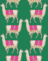 LLamas On Green Background Mural Wallpaper