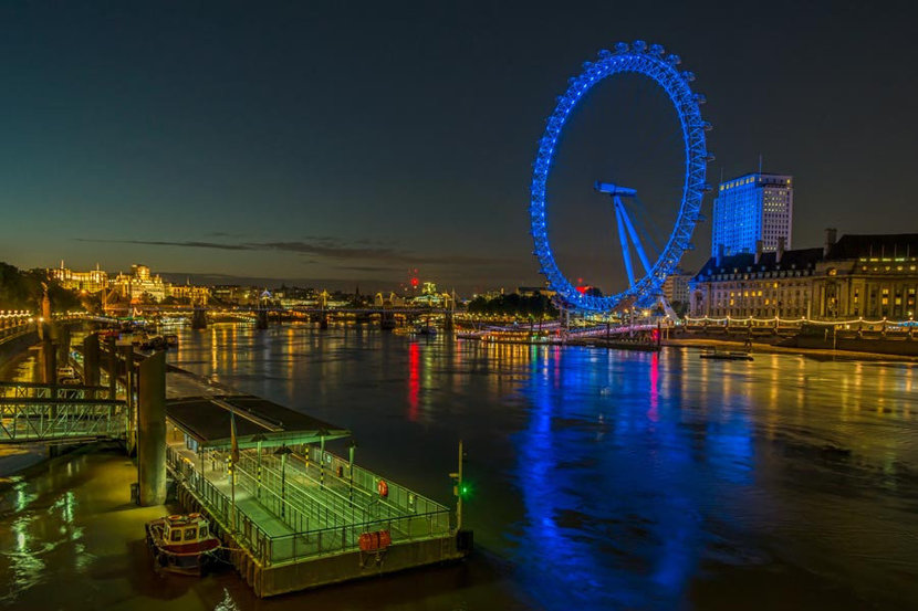 London Eye at Night Wall Mural