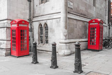 London Red Phone Booths Mural Wallpaper