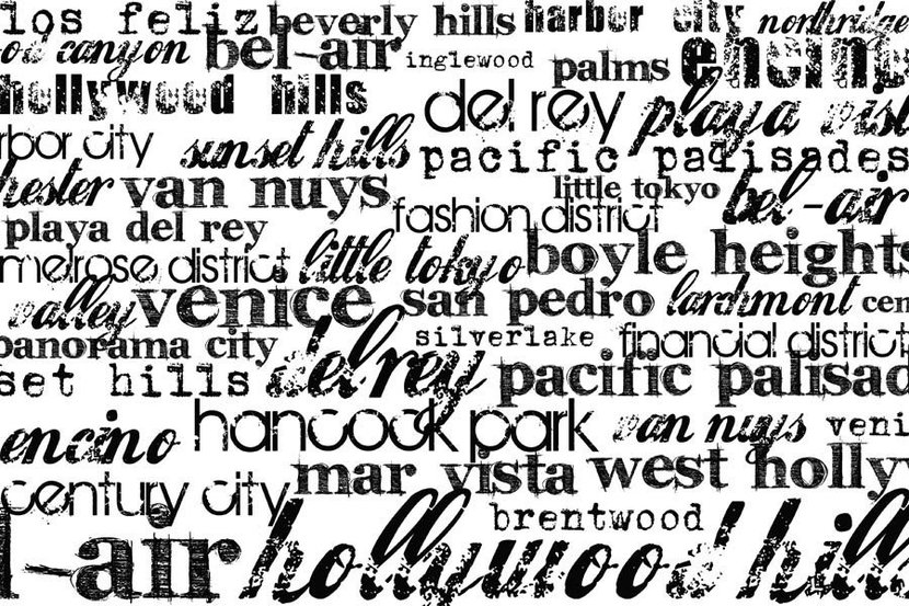 Los Angeles-Black And White Wallpaper Mural