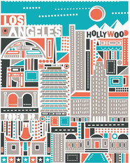 Los Angeles - Silver Mural Wallpaper