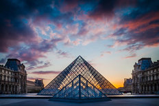 Louvre Courtyard Sunset Wall Mural