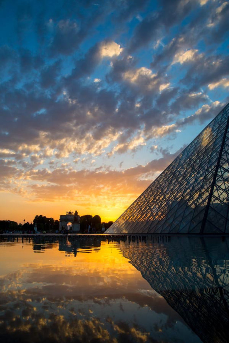 Louvre Sunset Reflections Mural Wallpaper