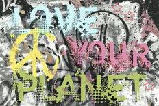 Love Your Planet Graffiti Mural Wallpaper