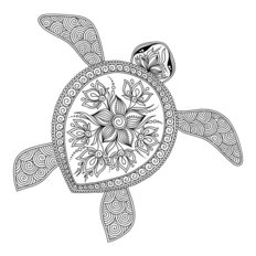 Lovely Sea Turtle Illustration Wall Mural