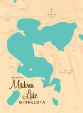 Madison Lake, MN Lake Map Wallpaper Mural