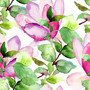 Magnolia Watercolor Pattern Wallpaper