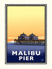 Malibu Pier At Sunset Wallpaper Mural
