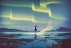 Man Holding Umbrella Under Northern Lights Wallpaper Mural