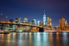 Manhattan Skyline and Brooklyn Bridge at Night Wall Mural