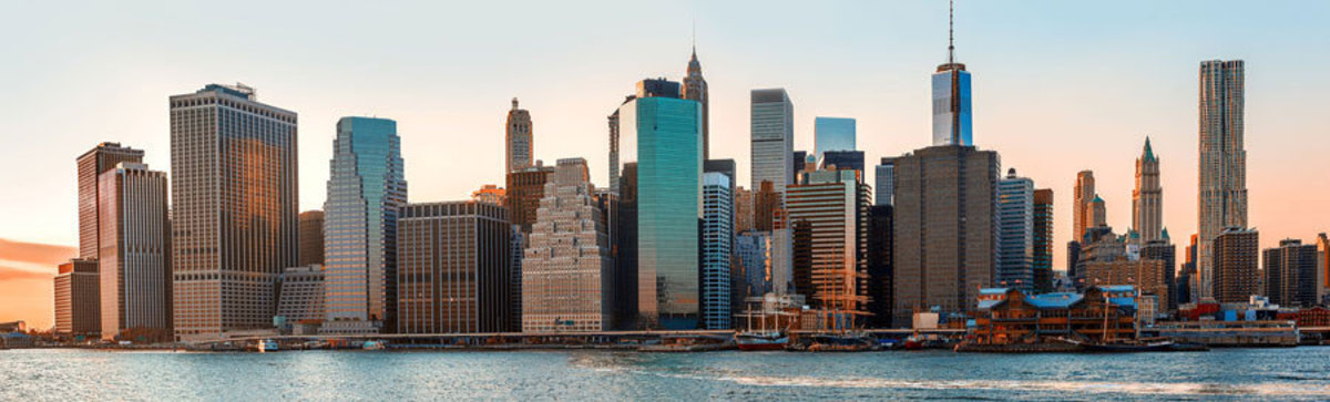a view of New York City in the early morning