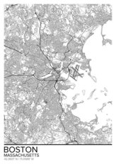 Map Of Boston Massachusetts Wallpaper Mural