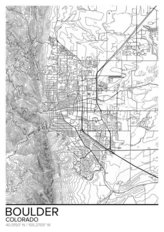 Map Of Boulder, CO Wallpaper Mural
