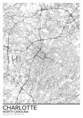 Map Of Charlotte, NC Wallpaper Mural
