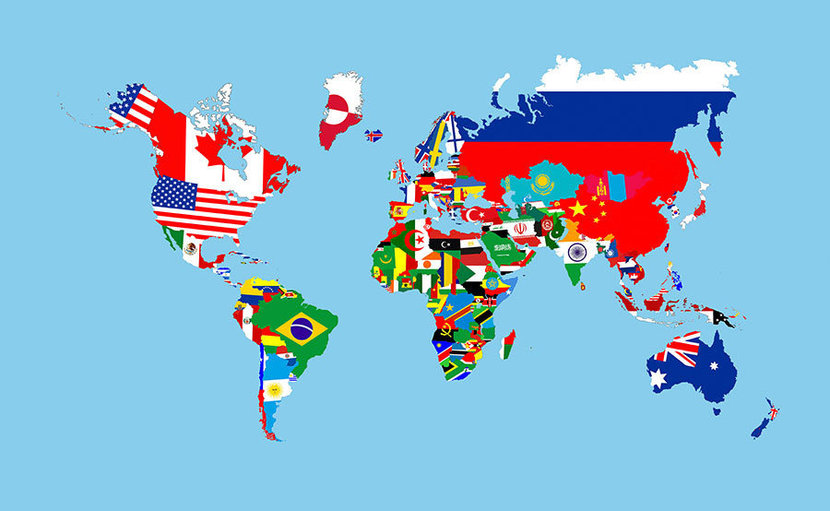 Map of Country Flags Wall Mural