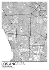 Map Of Los Angeles, California Wallpaper Mural