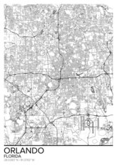 Map Of Orlando, FL Wallpaper Mural