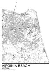 Map Of Virginia Beach, VA Wallpaper Mural