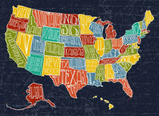 Map USA Wall Mural