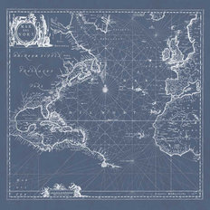 Mar del Nort Blueprint Wallpaper Mural