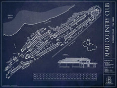 Maui Country Club Blueprint Mural Wallpaper
