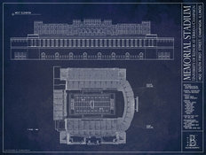Memorial Stadium at University of Illinois Blueprint Wallpaper Mural
