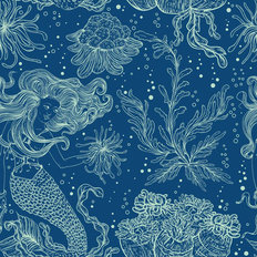 Mermaid Pattern Wallpaper Mural