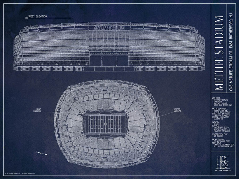 MetLife Stadium Blueprint Wallpaper Mural