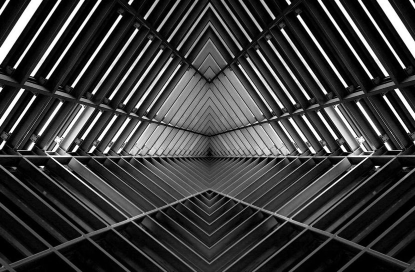 Metal structure similar to spaceship interior in black and white