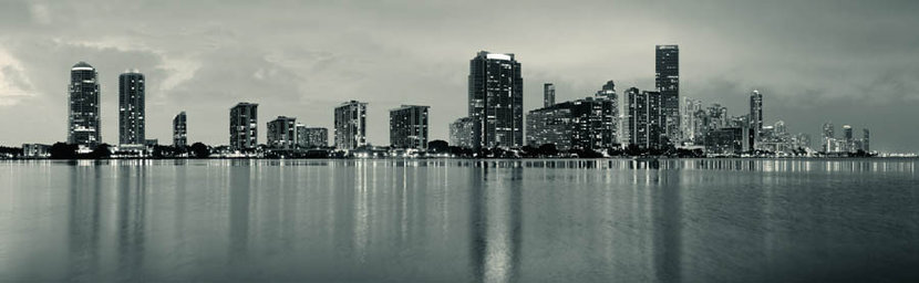 Miami City Skyline At Dusk With Urban Skyscrapers Over Sea With Reflection Mural Wallpaper