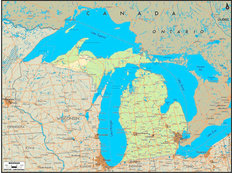 Michigan Map Wallpaper Mural