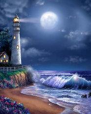 Midnight Lighthouse Wallpaper Mural