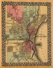 Milwaukee, WI 1880 Map Wall Mural
