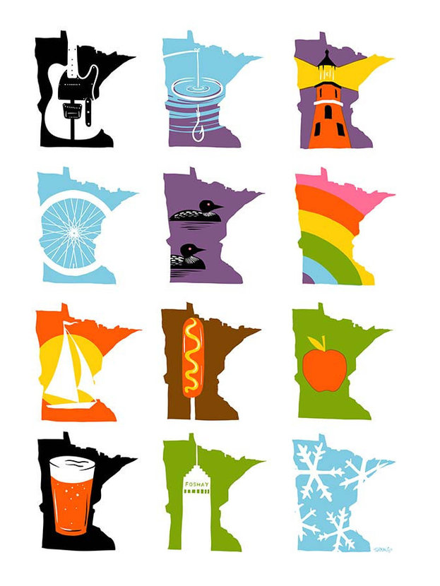 Minnesota months depicts things like cycling, craft beer, loons, fishing, and much more
