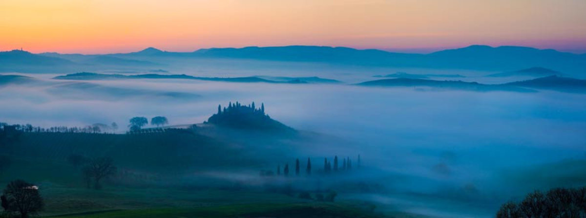 Misty Dawn in Tuscany Mural Wallpaper