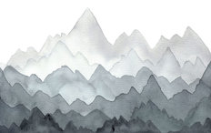 Misty Gray Watercolor Mountains Wall Mural