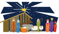 Modern Nativity Wall Mural