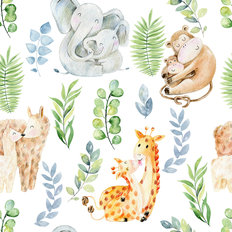 Mom And Baby Animal Pattern Wallpaper