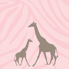 Momma & Baby Giraffe - Girl Wall Mural