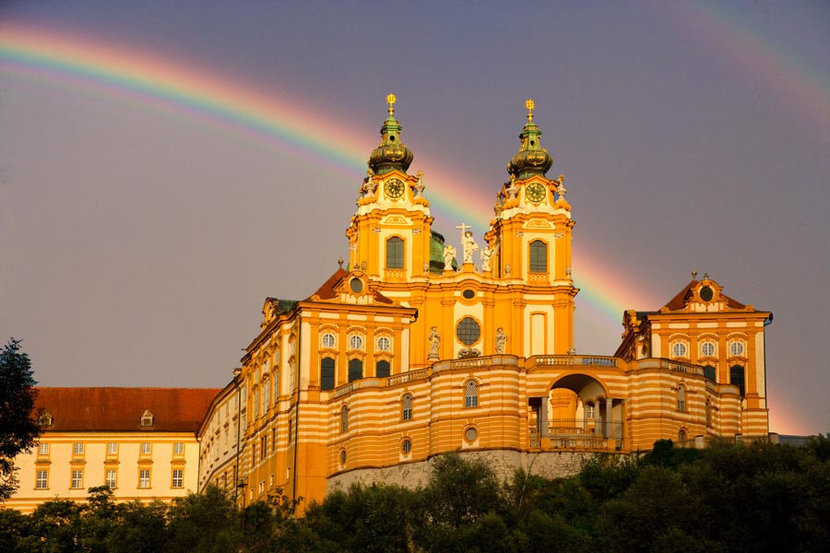 Monastery of Melk at Sunset Mural Wallpaper