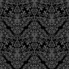 Monochrome Black And Grey Damask Wallpaper