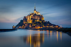 Mont Saint Michel Twilight Mural Wallpaper